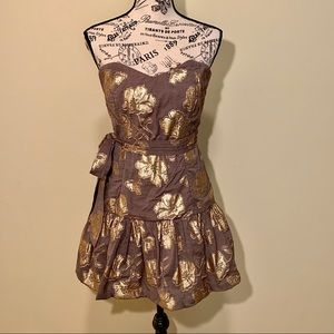 Bronze & Floral Gold Lamé Strapless Dress NWOT